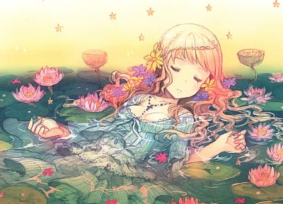 flowers, pink hair, anime girls, lotus flower - related desktop wallpaper