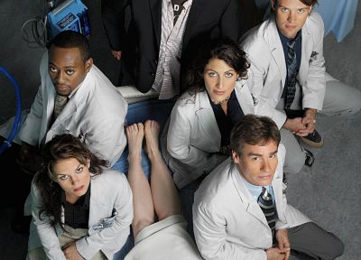 Jennifer Morrison, Lisa Edelstein, Hugh Laurie, James Evan Wilson, Gregory House, Omar Epps, Robert Sean Leonard, Jesse Spencer, Cuddy, Robert Chase, House M.D., looking up - random desktop wallpaper