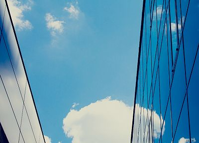 glass, buildings, skyscapes, low-angle shot - desktop wallpaper