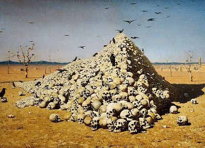 skulls, war, death, oil, paint, artwork, crows, Vasily Vereshchagin, The Apotheosis of War - related desktop wallpaper