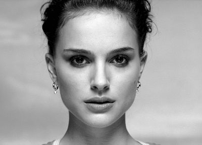 women, actress, Natalie Portman, grayscale, monochrome, faces - desktop wallpaper