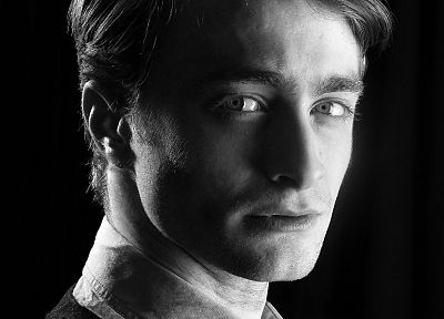 men, grayscale, actors, Daniel Radcliffe, black background, portraits - desktop wallpaper