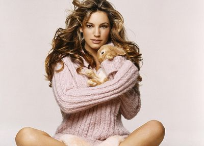 women, Kelly Brook, rabbits - random desktop wallpaper
