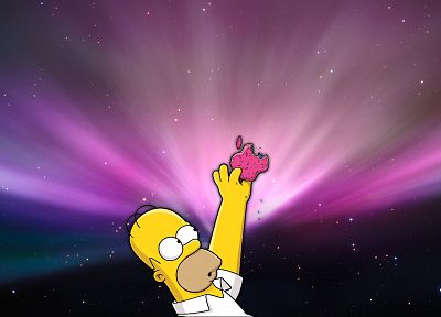 Apple Inc., Homer Simpson, technology, donuts - related desktop wallpaper