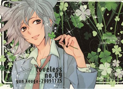 suit, Loveless, anime, anime boys, Ritsuka Aoyagi, four leaf clover, Clovers - desktop wallpaper