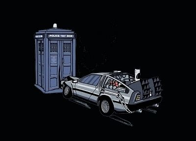 TARDIS, Back to the Future, Doctor Who, crossovers, DeLorean DMC-12 - related desktop wallpaper