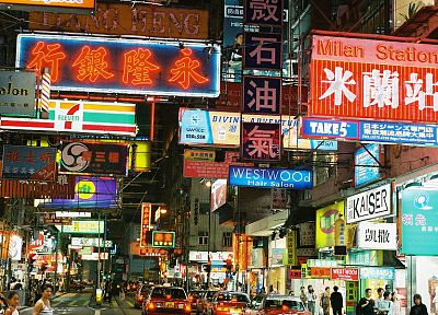 streets, signs, Hong Kong, HK - random desktop wallpaper