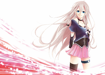 Vocaloid, blue eyes, bra, skirts, long hair, thigh highs, twintails, braids, white hair, choker, detached sleeves, IA - random desktop wallpaper