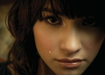 brunettes, women, close-up, tears, Demi Lovato, bangs - desktop wallpaper