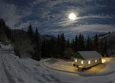 clouds, landscapes, nature, snow, forests, Moon, houses - related desktop wallpaper