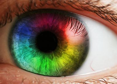close-up, eyes, rainbows, macro, photo manipulation - related desktop wallpaper