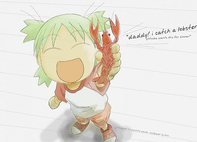 food, Yotsuba, lobsters, green hair, open mouth, manga, closed eyes, Yotsubato - related desktop wallpaper