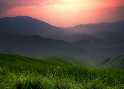 mountains, landscapes, nature, grass - desktop wallpaper