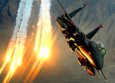 planes, flares, F-15 Eagle - random desktop wallpaper