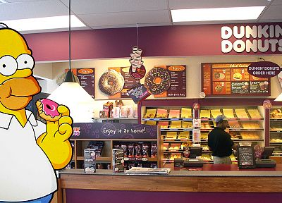 Homer Simpson, donuts, The Simpsons, Dunkin' Donuts - related desktop wallpaper