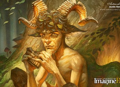 leaves, horns, fantasy art, instruments, imagine fx - desktop wallpaper