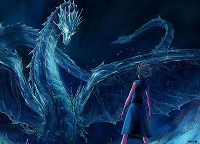 ice, wings, dragons, Bleach, bankai, artwork, realistic, Hitsugaya Toshiro, zanpakuto, Hyourinmaru - related desktop wallpaper