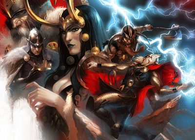 Thor, Odin, Marvel Comics, Loki, genderswitch - random desktop wallpaper