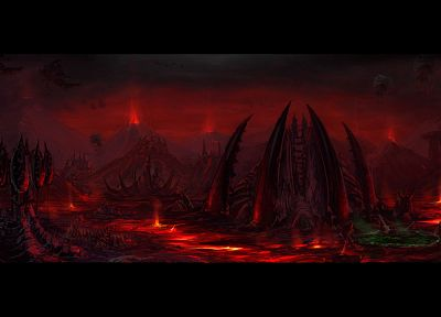 video games, StarCraft, lava, alien landscapes - related desktop wallpaper