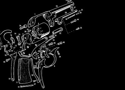 black and white, guns, guides, revolvers, weapons, charts - desktop wallpaper