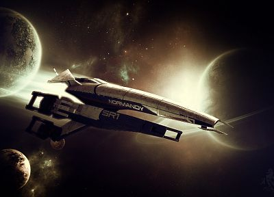 outer space, Normandy, stars, planets, rings, spaceships, science fiction, vehicles - desktop wallpaper