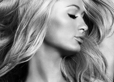 blondes, women, Paris Hilton, grayscale - related desktop wallpaper