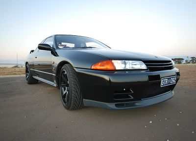 black, cars, Nissan, Nissan Skyline R32, Nissan Skyline R32 GT-R, sea, front angle view - related desktop wallpaper