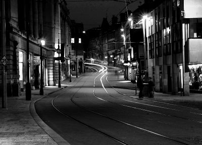 streets, England, buildings, grayscale - random desktop wallpaper