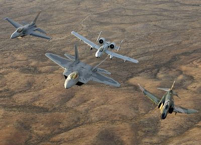aircraft, military, F-22 Raptor, planes, F-4 Phantom II, A-10 Thunderbolt II, F-16 Fighting Falcon - desktop wallpaper