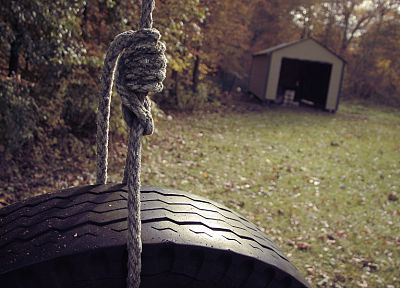 trees, leaves, grass, Depeche Mode, garages, tires, ropes - desktop wallpaper