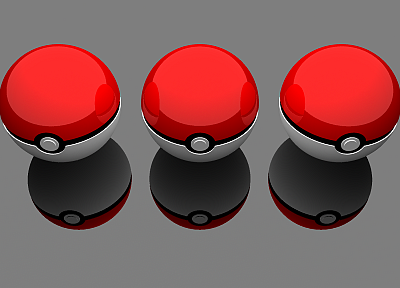 Pokemon, Poke Balls, 3D - desktop wallpaper