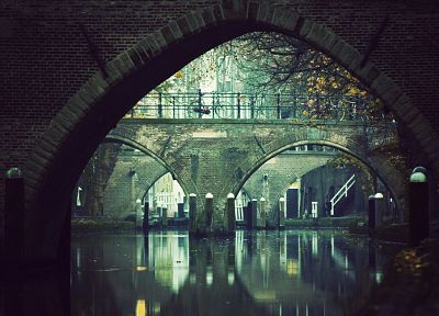 water, bicycles, bridges, arch, pointed arch, waterway - related desktop wallpaper