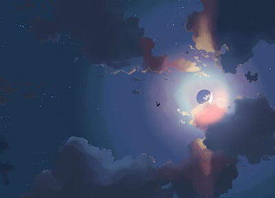 clouds, birds, Moon, anime, drawn, skyscapes - desktop wallpaper