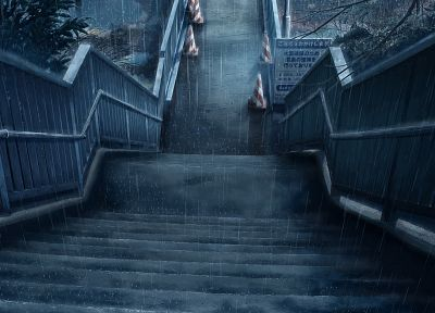 rain, stairways - random desktop wallpaper