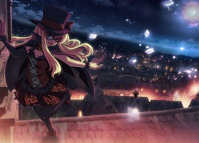 blondes, cityscapes, dress, glasses, buildings, anime, hats, anime girls, DJ Max Portable, Yuuki Tatsuya - related desktop wallpaper