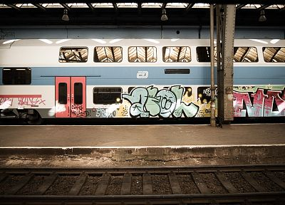 trains, graffiti, train stations, vehicles - related desktop wallpaper