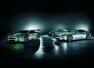 green, cars, Aston Martin, vehicles, Aston Martin DB9, Aston Martin DBS, side view, Aston Martin DBR9, front angle view - related desktop wallpaper