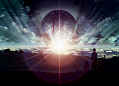 outer space, silhouettes, Makoto Shinkai, scenic, 5 Centimeters Per Second - random desktop wallpaper