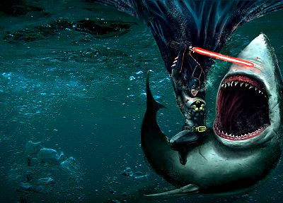 Batman, lightsabers, sharks, underwater, Flashpoint, great white shark - random desktop wallpaper
