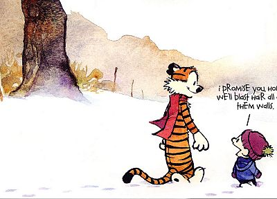 snow, text, Calvin and Hobbes, scarfs - random desktop wallpaper