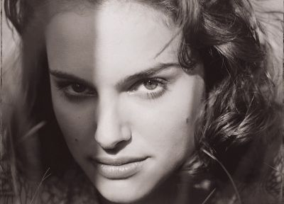women, actress, Natalie Portman, grayscale, monochrome - desktop wallpaper