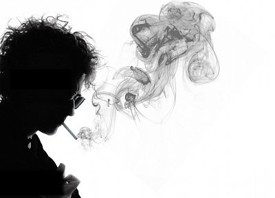 smoking, Bob Dylan, grayscale, musicians - random desktop wallpaper