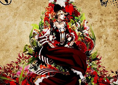 dress, flowers, patterns, steampunk, artwork, anime, hats, anime girls - random desktop wallpaper