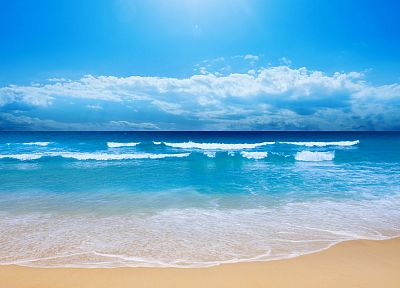 water, blue, clouds, landscapes, nature, sand, waves, skyscapes, blue skies, sea, beaches - related desktop wallpaper