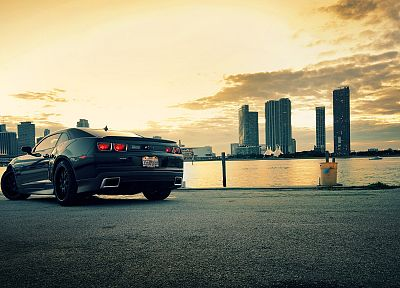 water, cityscapes, cars, roads, Chevrolet Camaro - related desktop wallpaper