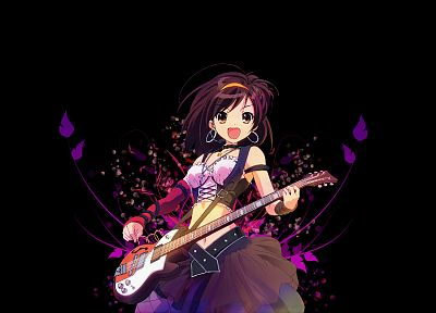 brunettes, The Melancholy of Haruhi Suzumiya, guitars, anime, simple background, anime girls, black background, Suzumiya Haruhi - related desktop wallpaper