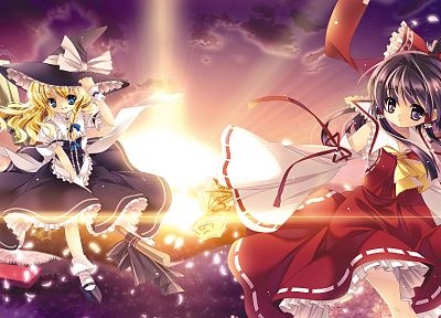 video games, Touhou, Miko, sunlight, Kirisame Marisa, Hakurei Reimu, Capura Lin, detached sleeves, witches - desktop wallpaper