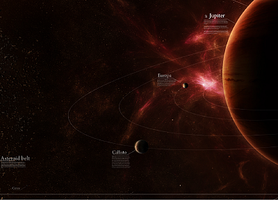 outer space, stars, planets, Moon, Jupiter, asteroids, Europa - desktop wallpaper
