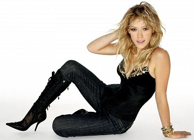 blondes, women, jeans, Hilary Duff, celebrity, tank tops, high heels, bracelets, zippers, white background, spaghetti straps, denim clothing, black clothes, mussed hair - related desktop wallpaper