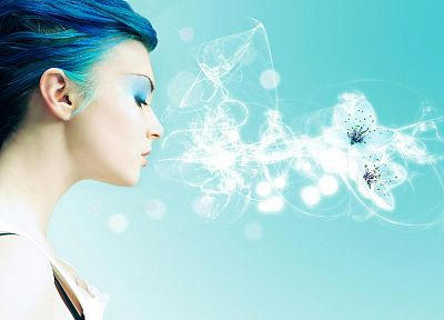 women, abstract, blue hair - related desktop wallpaper